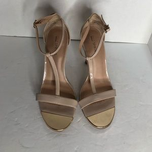 Call It Spring Nude T-Strap Gold Embellished Heels